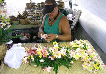 Lei making in Hawaii