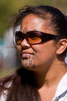 Maori Tatto on Maori Woman With T   Moko Tattoo