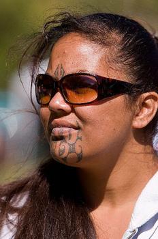 Maori Tatto on Maori Woman With T   Moko Tattoo