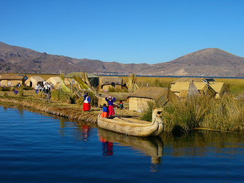 floating Uros Island village