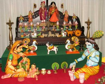 Krishna and Gopi with dolls