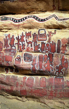 Dogon cliff painting