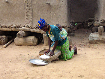 Dogon woman with her baby
