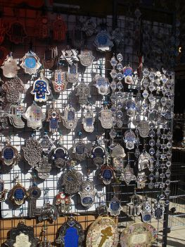 Hamsa amulets at the market in Tel Aviv, Israel