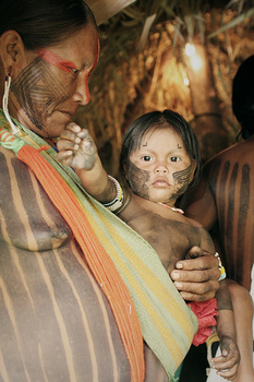 Kayapo woman and child