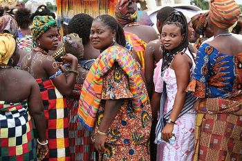 Ghanaian women wearing kente cloth