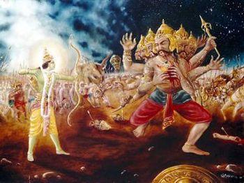 Rama beating Ravana